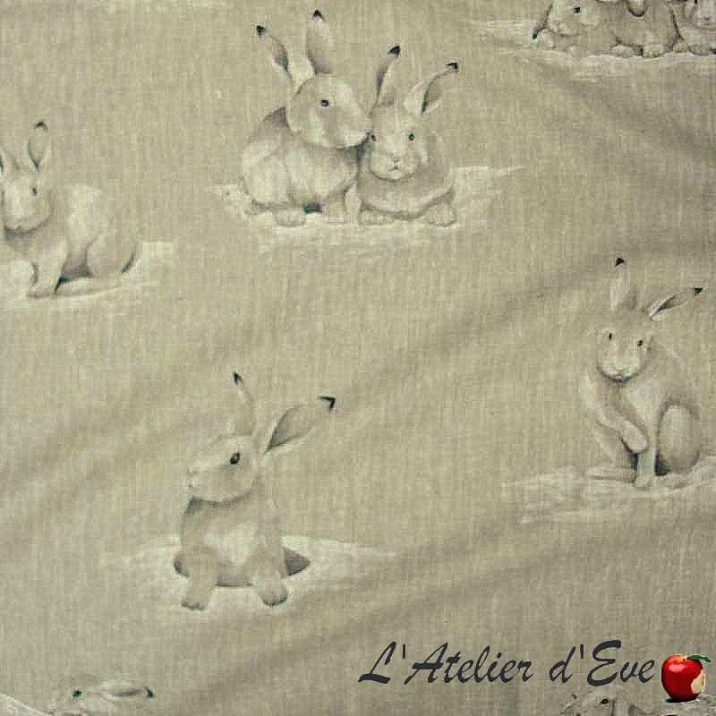 Lapinoux curtain eyelets ready to ask linen pattern rabbits Thévenon the curtain