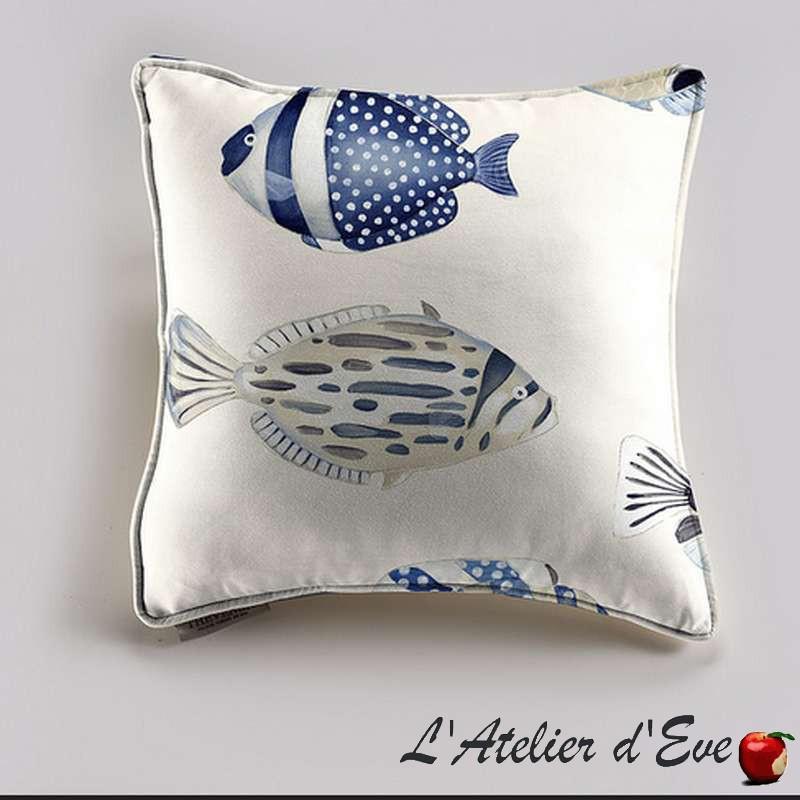 Copacabana Coussin/taie poisson bleu fond creme Tissu coton Thevenon