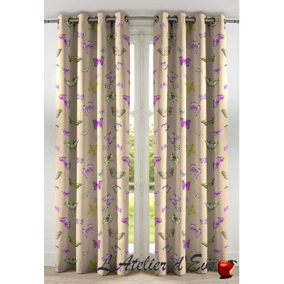 Olivia Rideau to ready to ask eyelets printed polycotton butterflies Thévenon the curtain