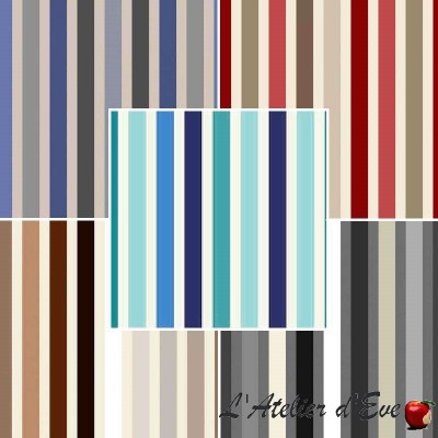 LAMBADA (6 colors) fabric furniture bachette cotton stripe Thévenon