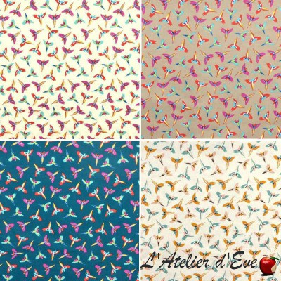 Fantasmatic (4 colors) fabric ameulement cotton wide ground birds Thévenon