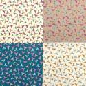 Fantasmatic (4 colors) fabric ameulement cotton wide ground birds Thévenon