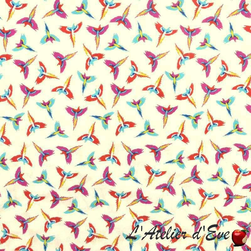 Fantasmatic Toile ameulement 100%coton grande largeur motif oiseaux fond crème Thevenon