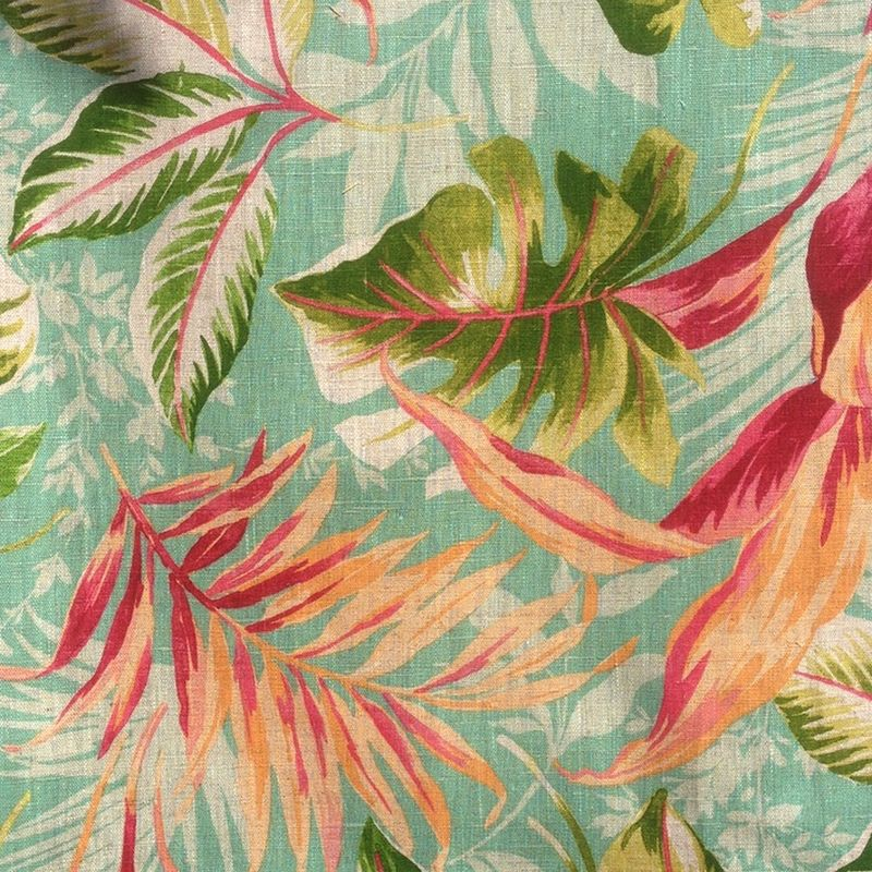 Toile de lin: Tissu ameublement lin fleuri