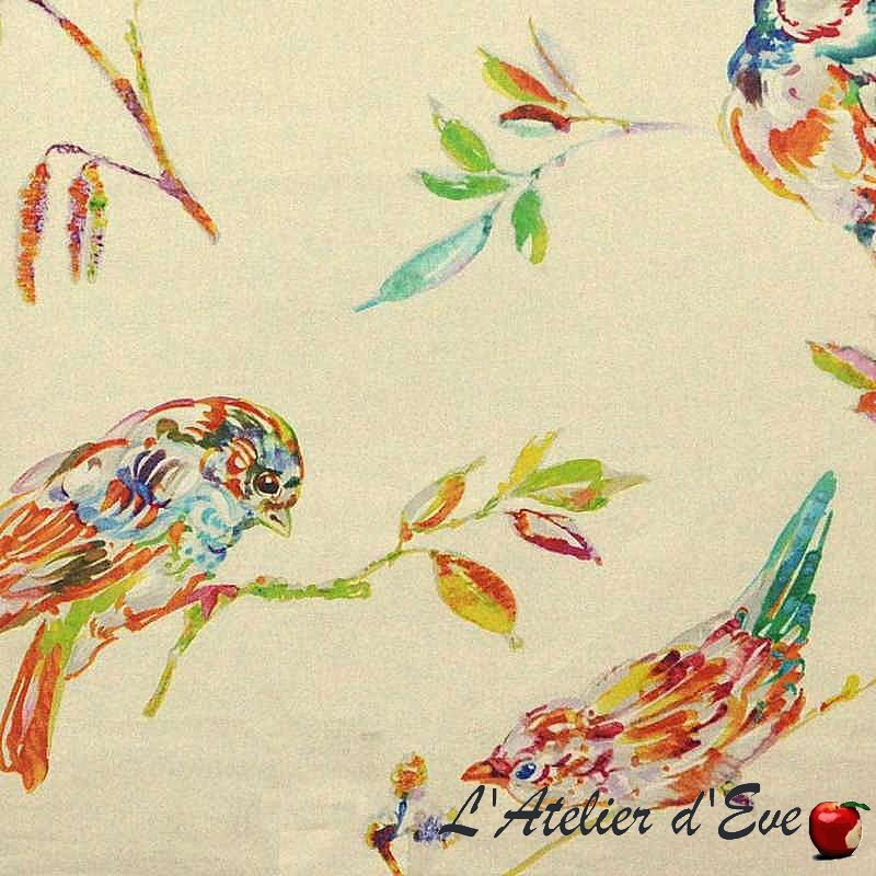 L'oiseau Perse Toile ameulement 100%coton grande largeur motif oiseaux fond crème Thevenon