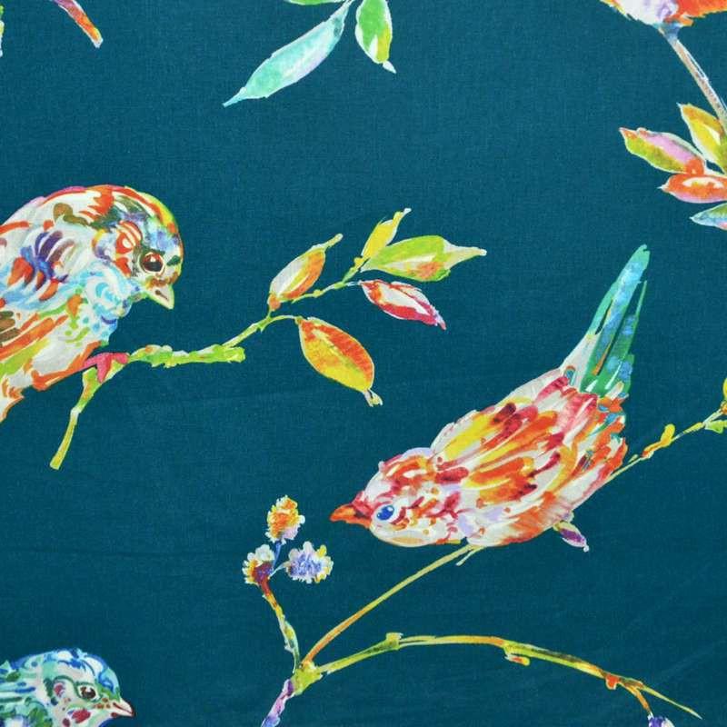 L'oiseau Perse Toile ameulement 100%coton grande largeur motif oiseaux fond turquoise Thevenon
