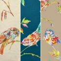 The Persian bird (4 colors) fabric ameulement cotton wide for seat pattern birds Thévenon