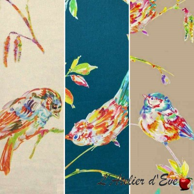 The Persian bird (3 colours) curtain with eyelets Made In France ground birds Thévenon the curtain