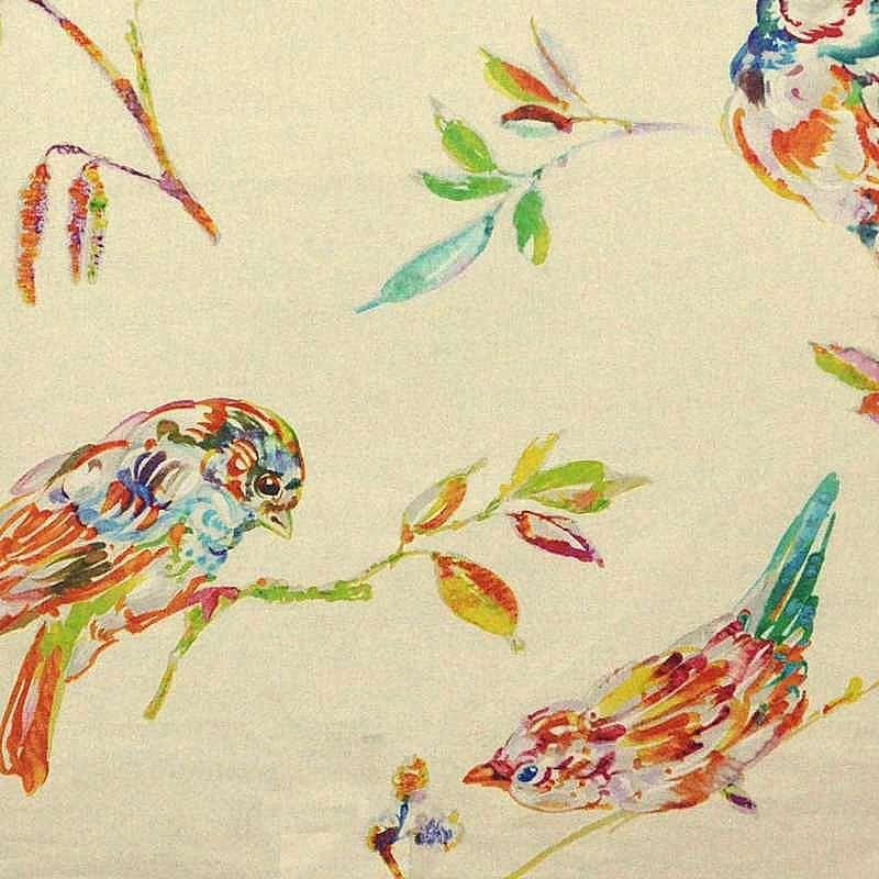 L'oiseau Perse Achat pièce toile de coton imprimée oiseaux fond crème par Thevenon Paris