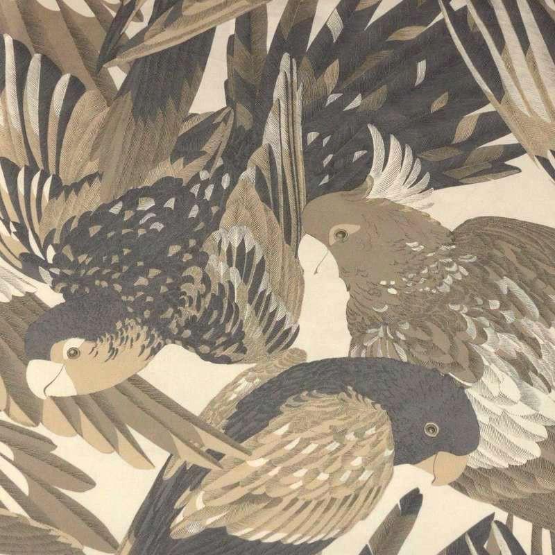 L'amazone: Toile ameulement coton grande largeur motif perroquets gris Thevenon