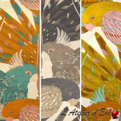 The Persian bird (4 colors) fabric ameulement cotton wide ground birds Thévenon