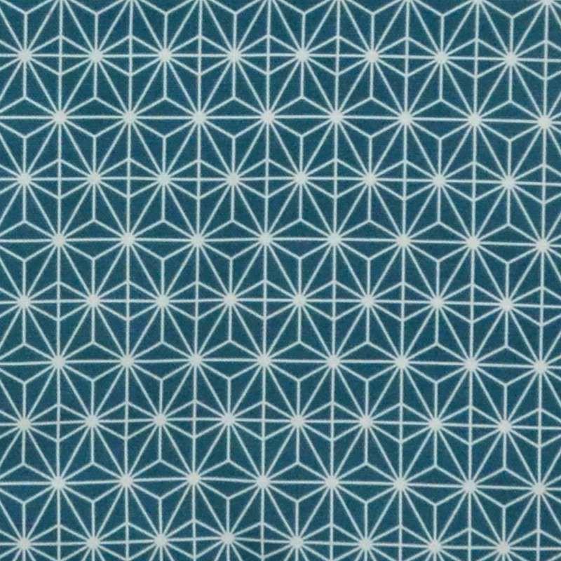 Soleil d'orient: Toile bachette coton grande largeur motif géométrique fond turquoise exotique Thevenon