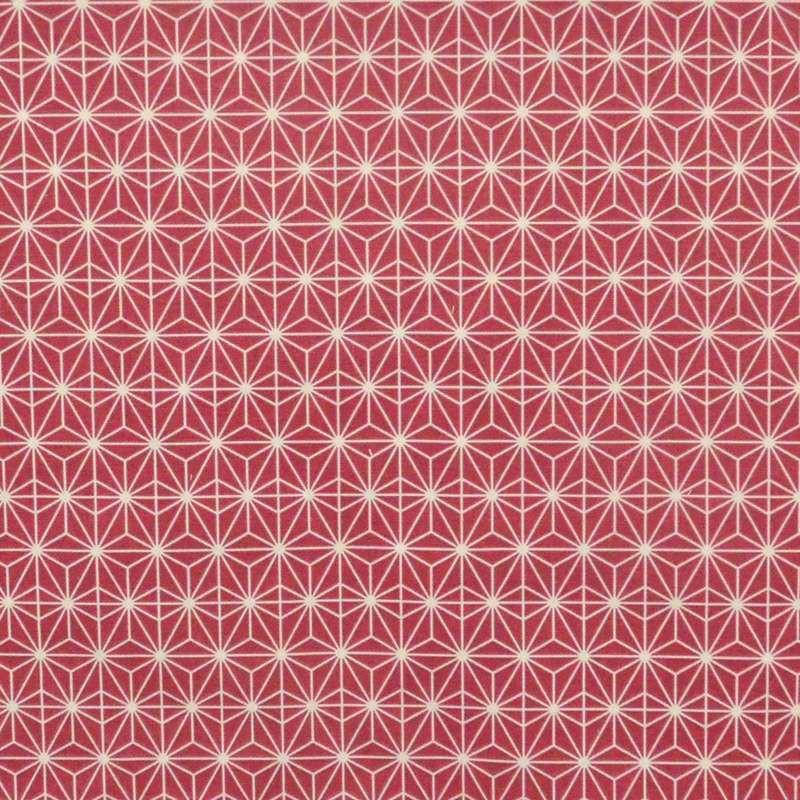 Soleil d'orient: Toile bachette coton grande largeur fond rouge framboise pour tapissier Thevenon