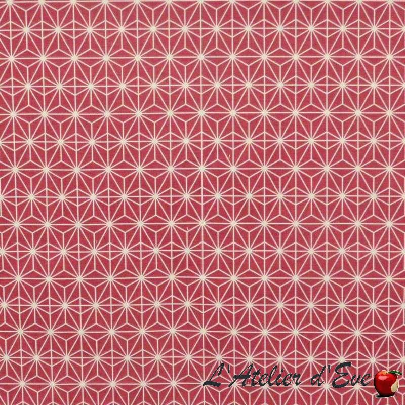 Achat tissu coton en gros : Tissu Soleil d'Orient fond rouge framboise de Thevenon Paris