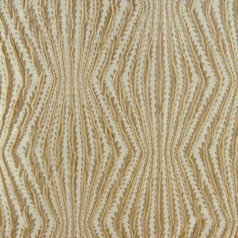 Virgo: Tissu ameublement jacquard fantaisie naturel fond crème Thevenon