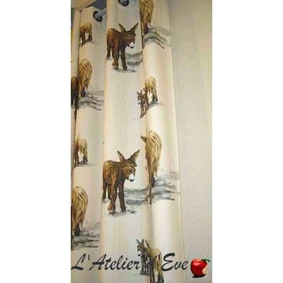 Mon Ane Rideau a oeillet pret a poser coton fond naturel Clair Fonce 1371621 le rideau