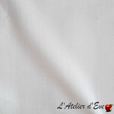 Kalila - Tissu ameublement uni aspect lin blanc par Thevenon