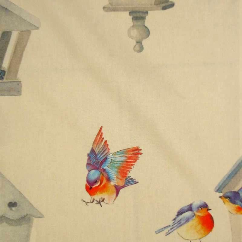 Birdy: Tissu ameublement coton imprimé oiseaux fond crème Thevenon Paris