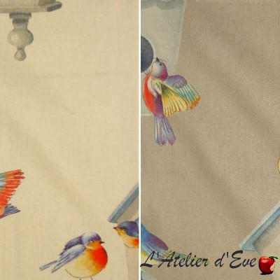 Birdy (2 colours) curtain with eyelets Made in France Thévenon the curtain