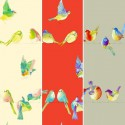 Happy birds (3 colours) furnishing fabric great width for seats Thévenon