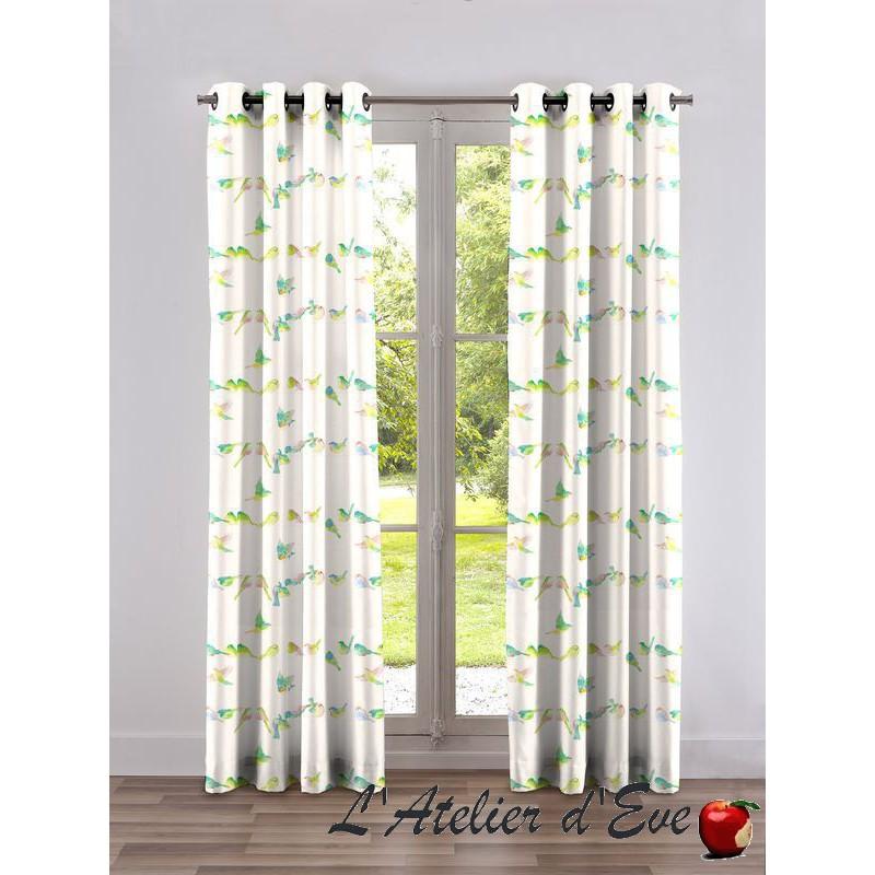 Happy birds curtain grommets Made in France Thévenon