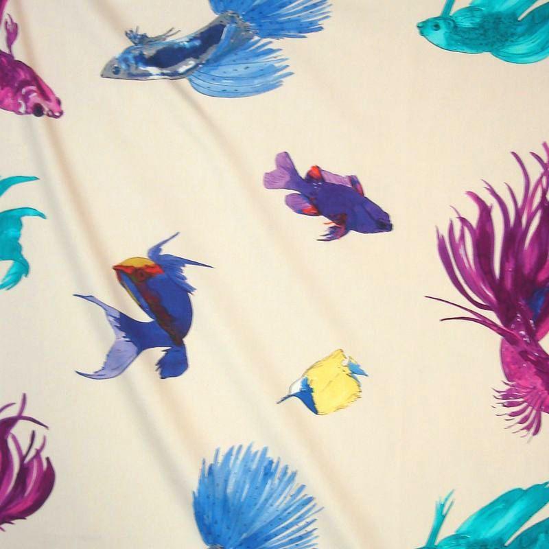 Glowing Fish fond crème tissu ameublement coton pour sièges thème poissons Thevenon