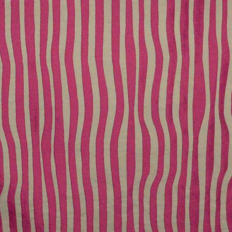 Surfliner Tissu ameublement jacquard rayure rose/lin Thevenon
