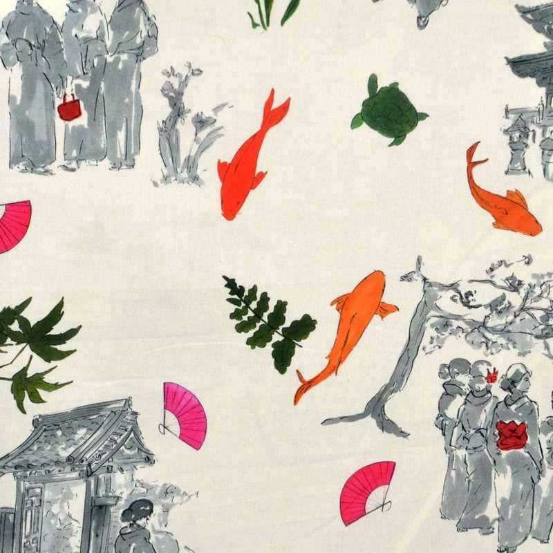 Sansaku - Tissu ameublement 100% coton style japonsais