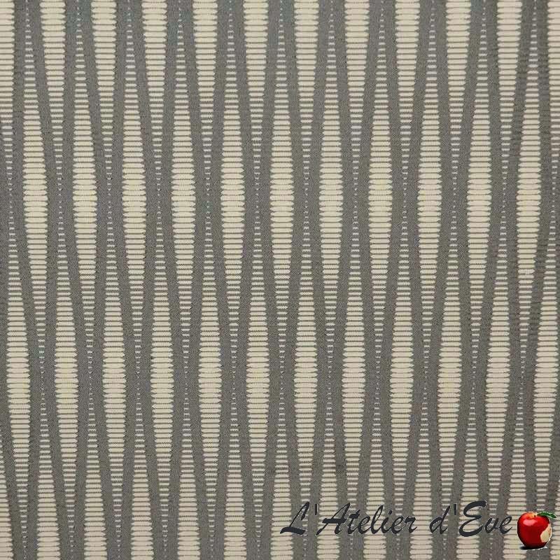 Pyxis crème fond gris Tissu ameublement jacquard rayure Thevenon