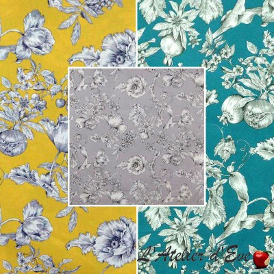 Grenadine (3 coloris) Toile ameublement coton grande largeur fleuri Thevenon
