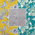 Grenadine (3 colours) canvas cotton furnishing wide flowered Thévenon