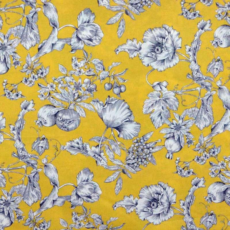 Grenadine - Toile ameublement coton grande largeur fleuri fond jaune Thevenon