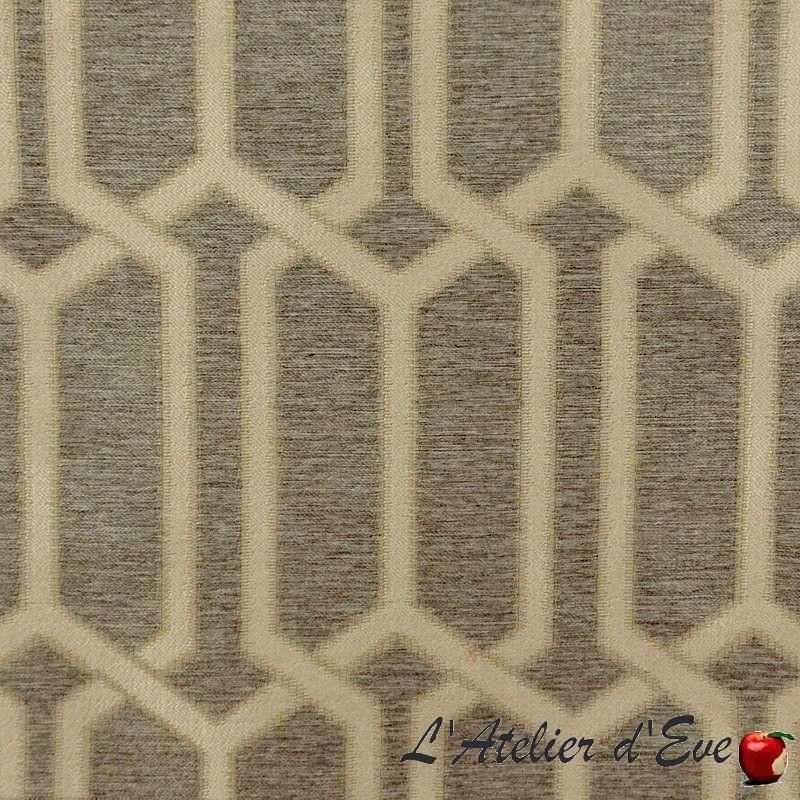Jouvence - Tissu ameublement jacquard géométrique fond naturel Thevenon