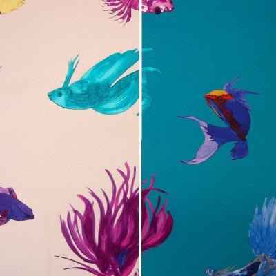 Rouleau remise 30% tissu coton Thevenon 2 coloris Glowing Fish thème marin