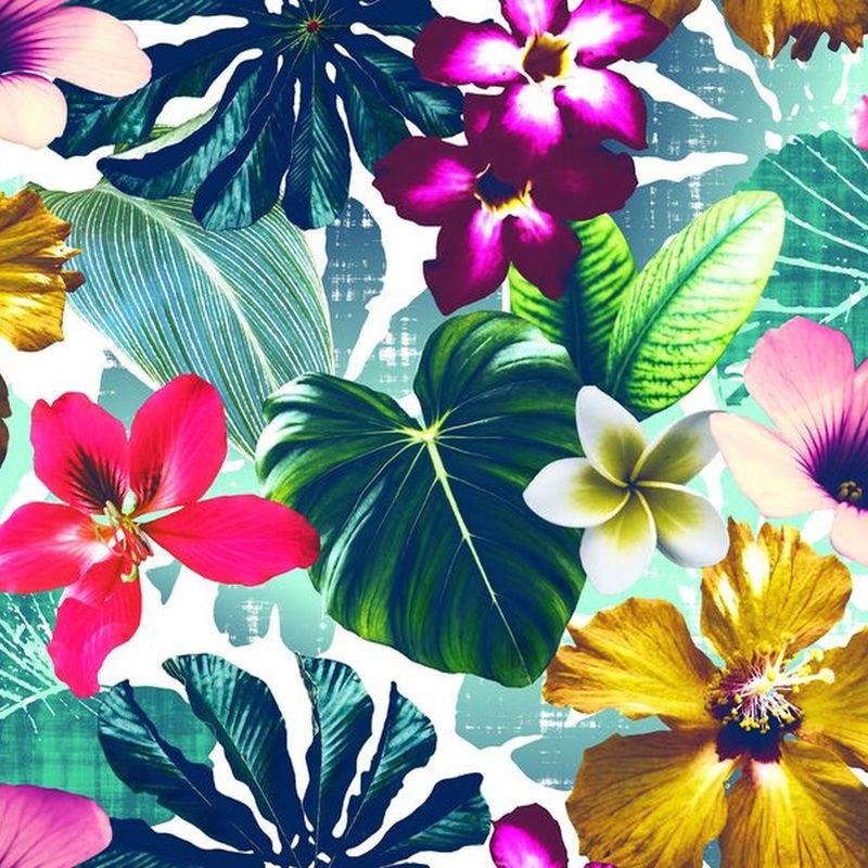 Cocktail: Tissu ameublement 100% coton motif fleurs Thevenon et evedeco.com