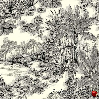 Eden Rouleau fabric furniture plant motif Thévenon room/half room