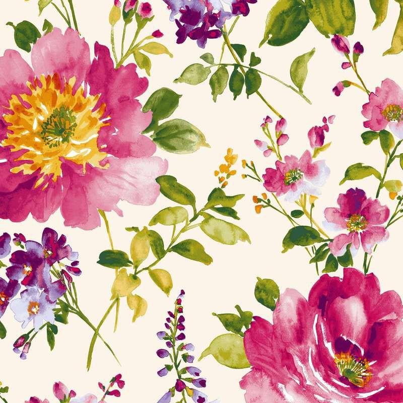 I Love You Tissu ameublement satin de coton Fleurs fond noir L.280cm Thevenon 1639503 le metre