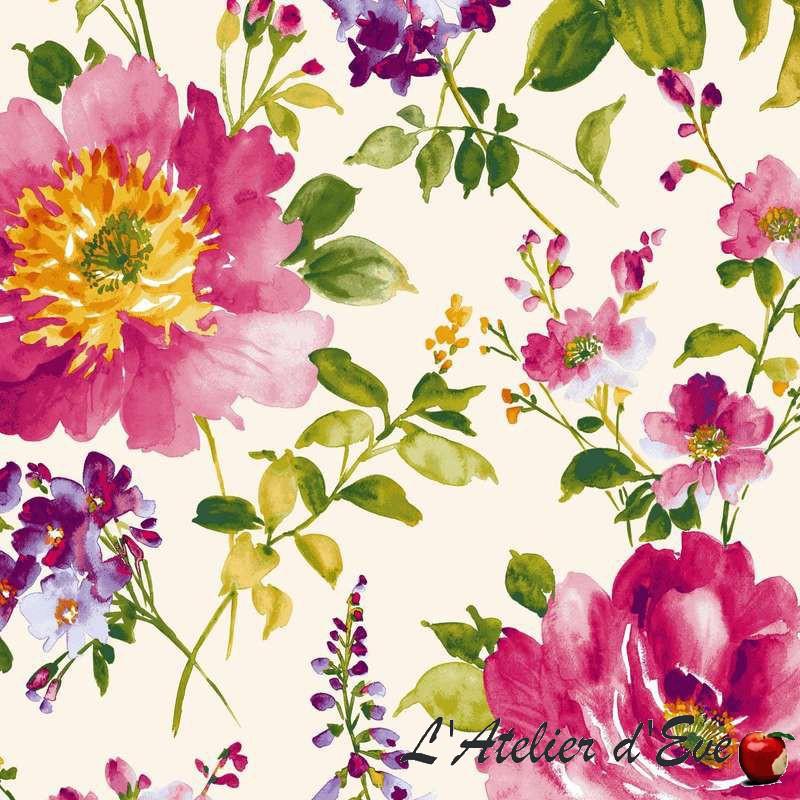 I Love You satin de coton fleurie fond crème par Thevenon Paris et evedeco.com