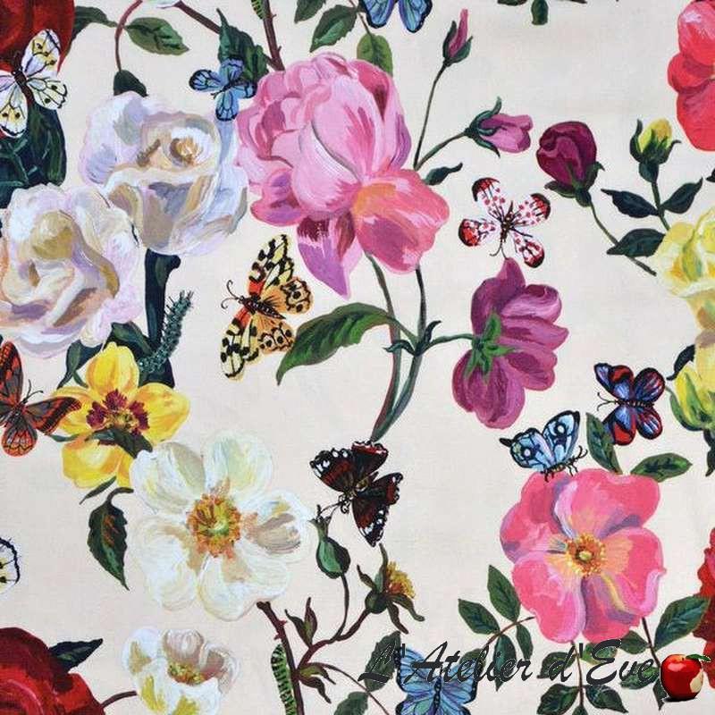 Le tissu Villa des roses fond crème Par Nathalie Lete et Thevenon Pariss
