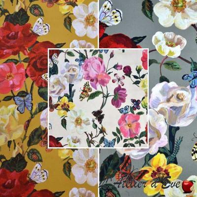 Villa des roses Tissu ameublement percale coton Fleurs fond or L.150cm Thevenon 1644602 le metre