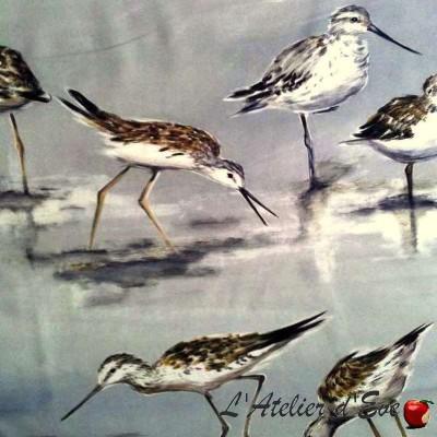 Carnac Tissu ameublement coton oiseaux fond gris Thevenon