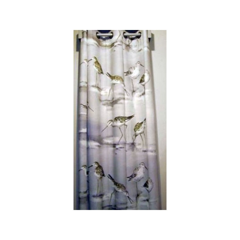 Carnac curtain has grommets gray cotton Made in France the curtain