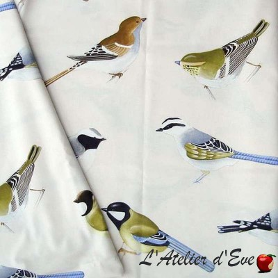 Caruso bachette cotton furnishing fabric great width birds Thévenon