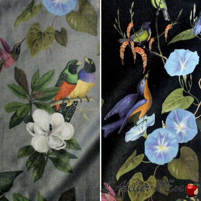 Il était une fois velours (2 coloris) Tissu ameublement Oiseaux et fleurs Thevenon