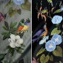 Il était une fois velours (2 coloris) Rouleau tissu ameublement et siège motif oiseaux Thevenon Pièce/demi-pièce