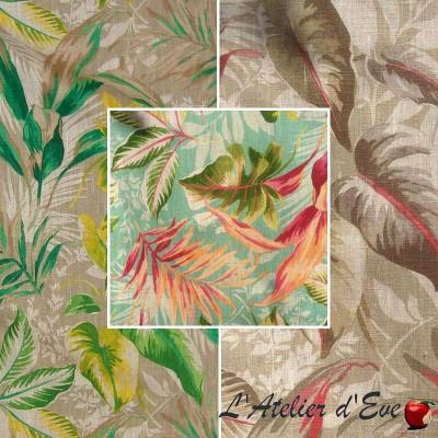 Girolata (3 coloris) Toile ameublement 100% lin fleuri Thevenon