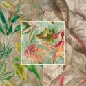 Girolata 4 coloris Tissu ameublement toile de lin fleurie L.140cm Thevenon