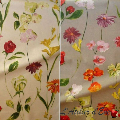 Quintessence - Tissu ameublement coton grande largeur fleuri Thevenon