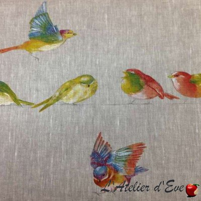 """""""Happy birds"""" Toile de lin pour sièges imprimée oiseaux Thevenon"""