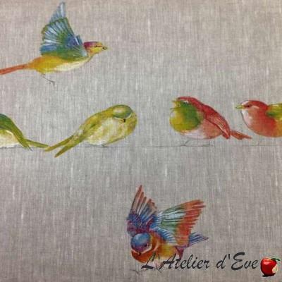"""Happy birds"" Remise 30% Rouleau toile de lin Thevenon"